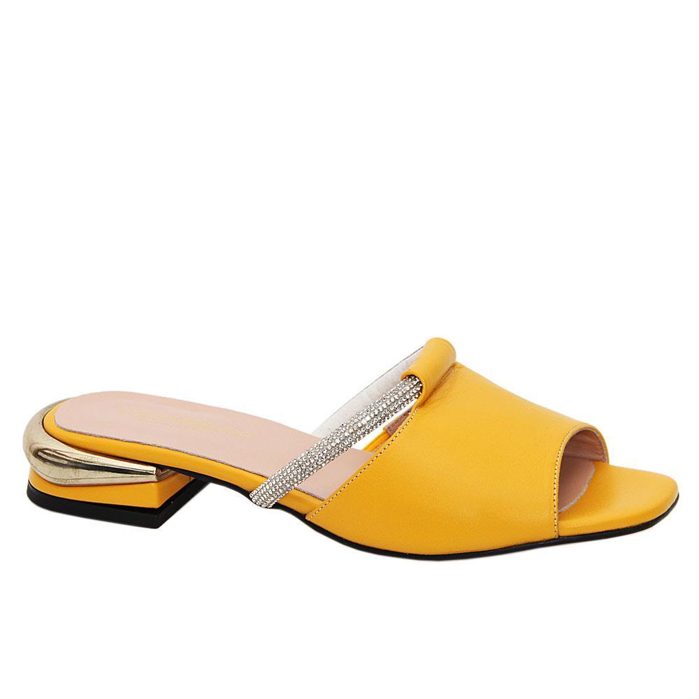 Yellow Azalea Studded Tuscany Leather Low Heel Mule