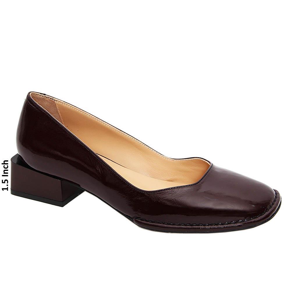 Burgundy Barbara Tuscany Leather Block Heel Pumps