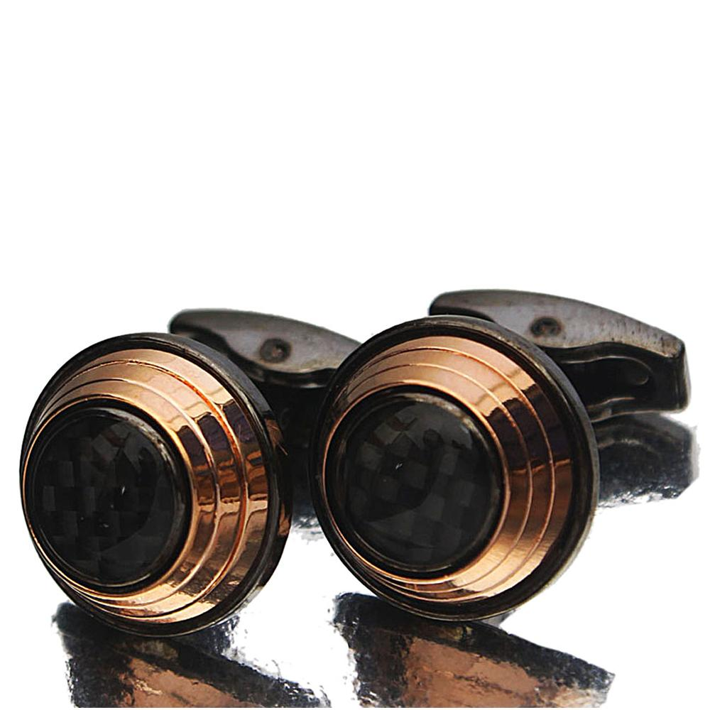 Gold Rim Black Etched Pearl Stainless Steel Cufflinks