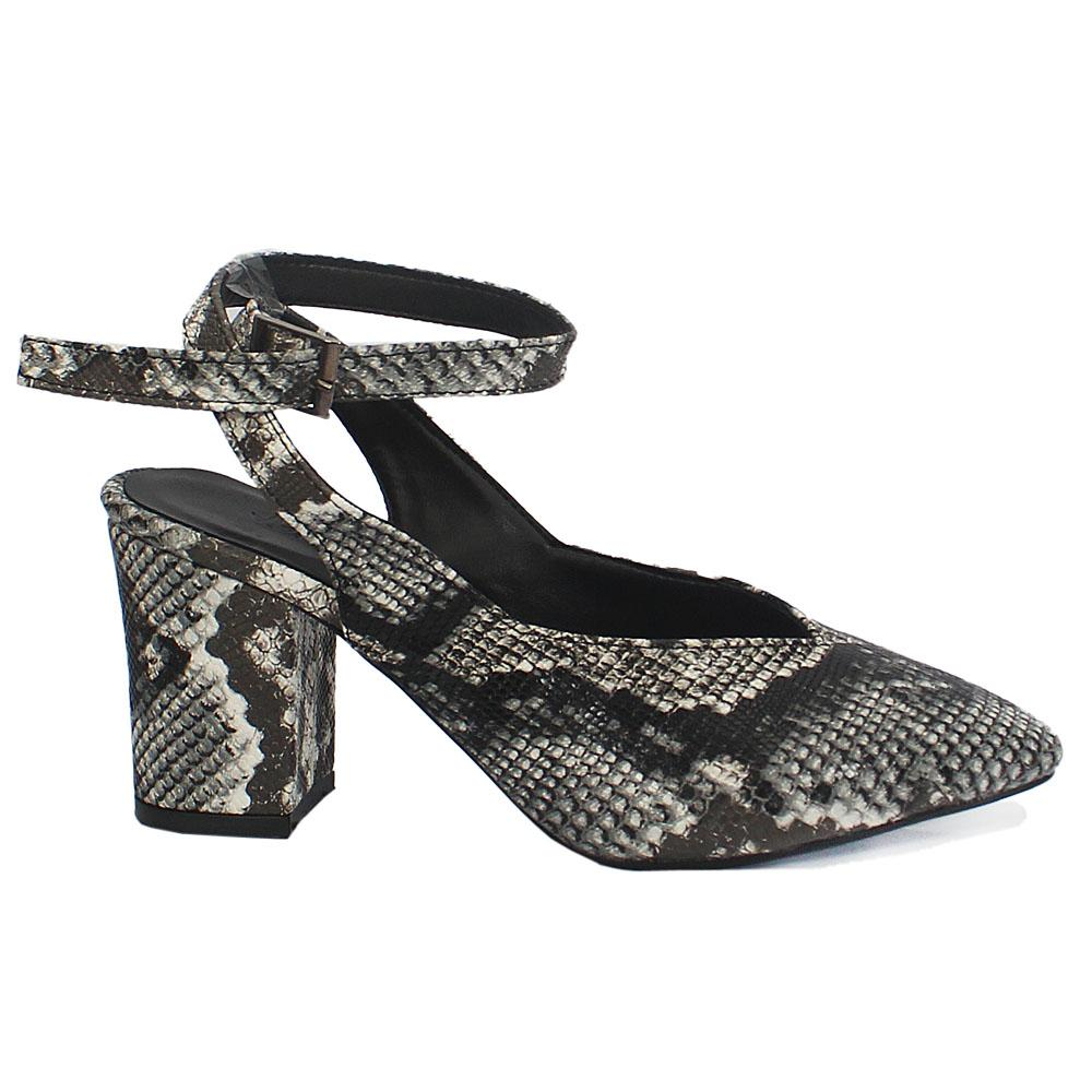 White Black Snake Skin Leather Mid Heels Ladies Shoes