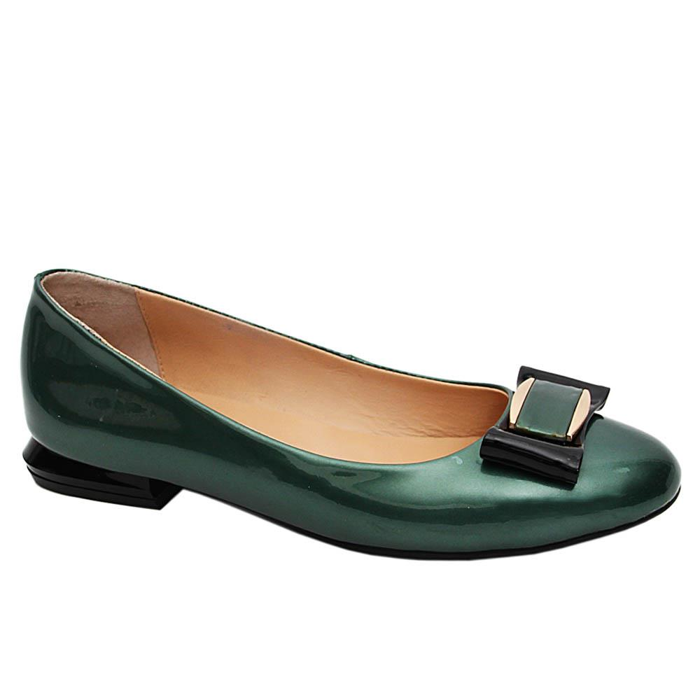 Green Ursula Bow Patent Italian Leather Flat Pumps