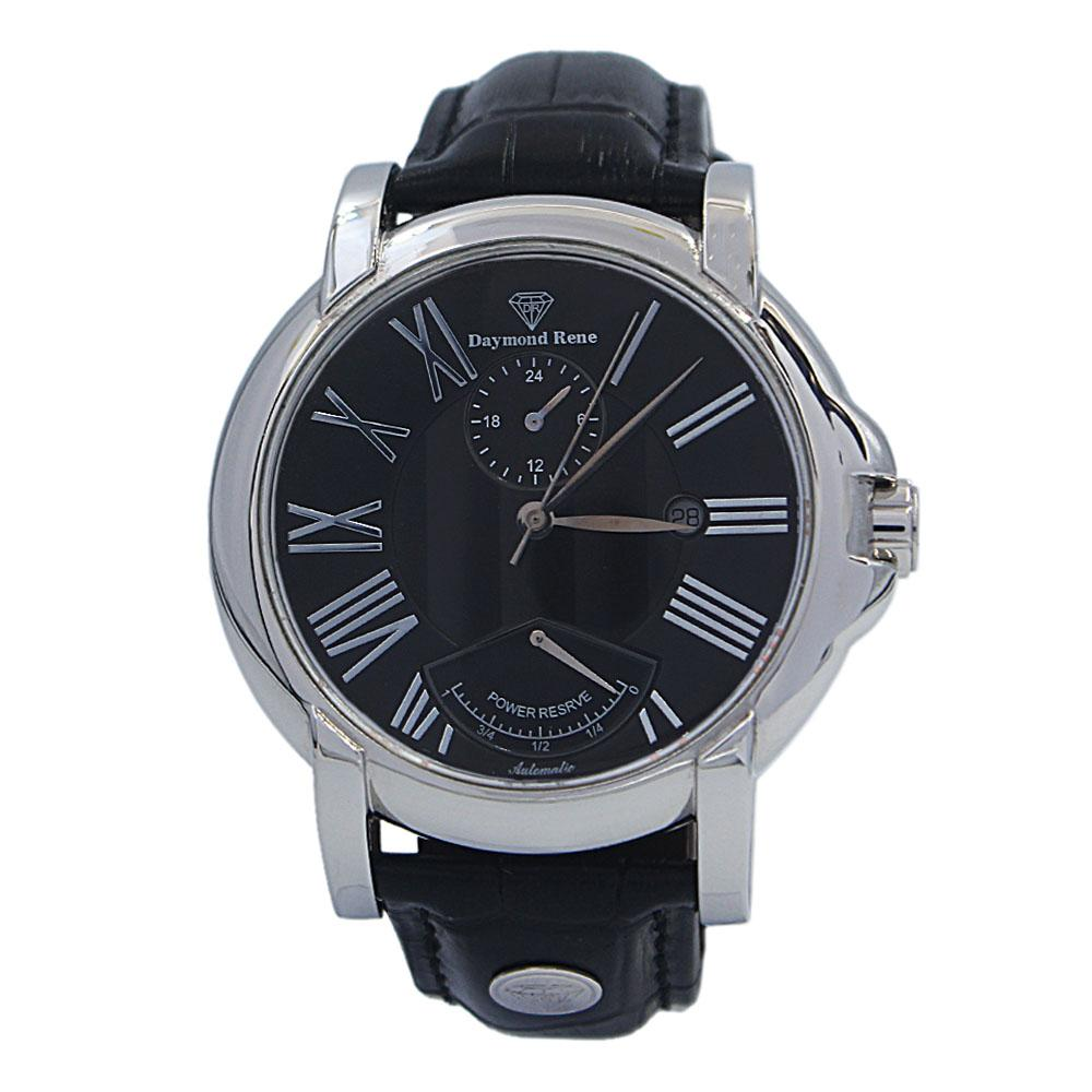 Black-Silver-Leather-Automatic-Watch