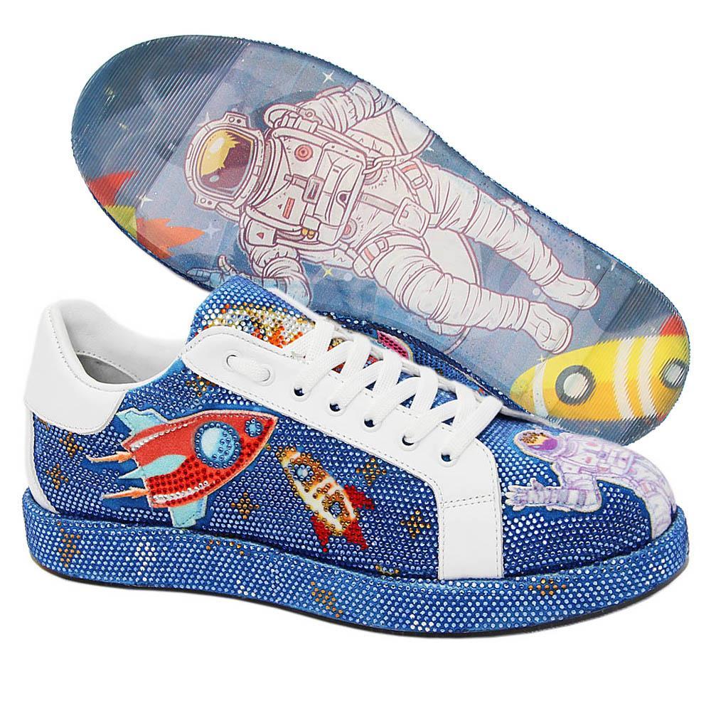 Blue Mars Studded Velour Italian Leather Unisex Sneakers