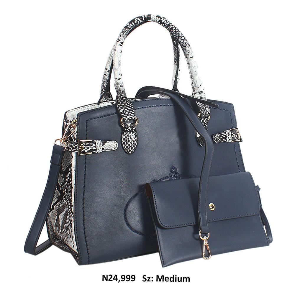 Navy Blue Snake Skin Style Leather Tote Handbag
