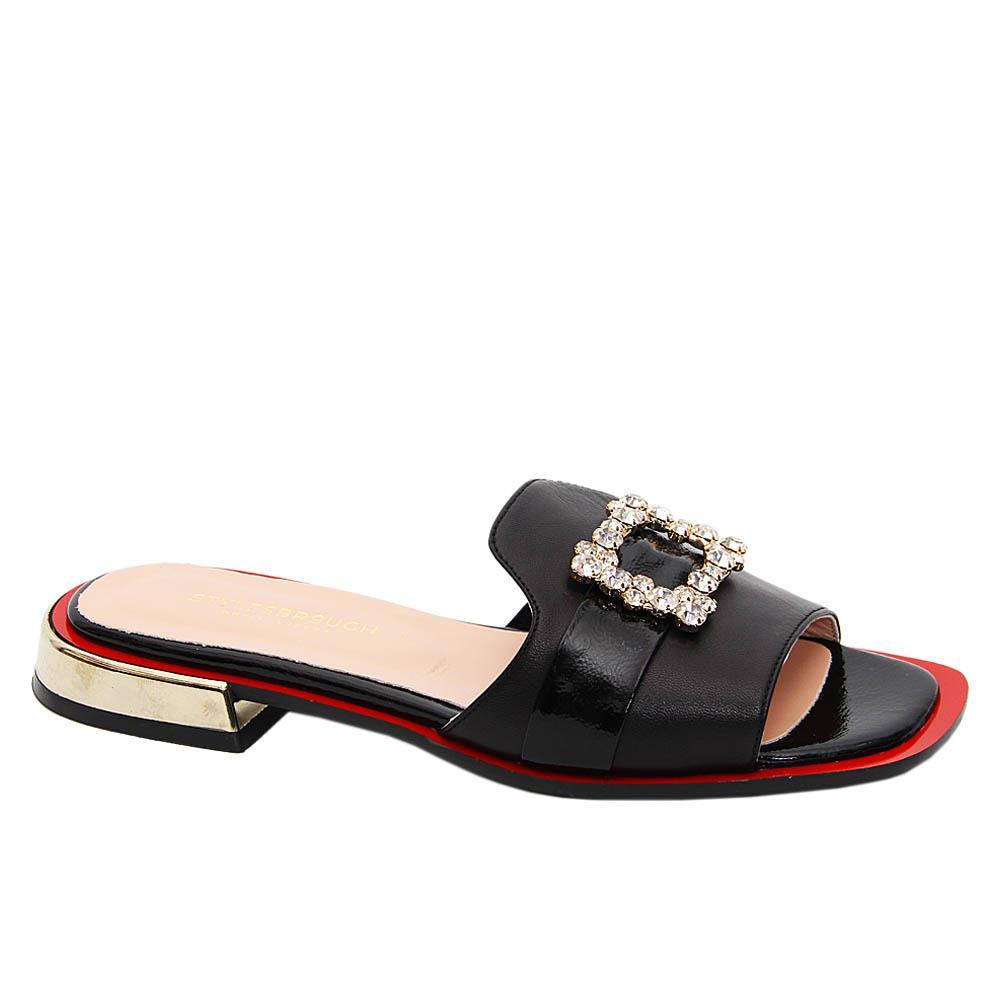 Black Natalia Tuscany Leather Low Heel Slippers
