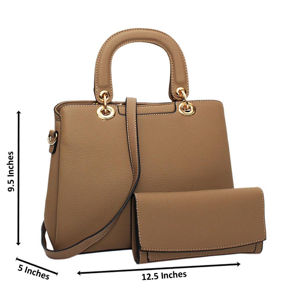 Khaki Layla Leather Medium Tote Handbag