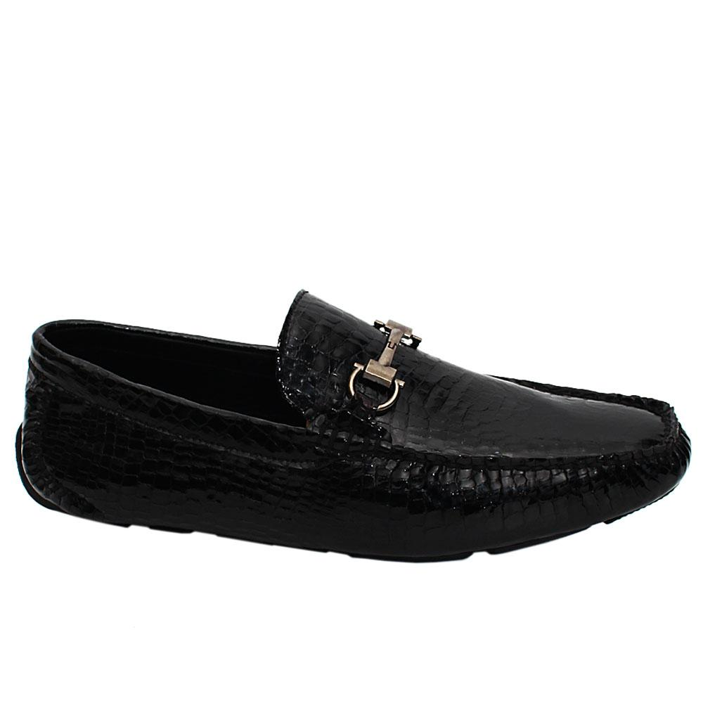 Black Marco Croc Patent Italian Leather Drivers Shoe
