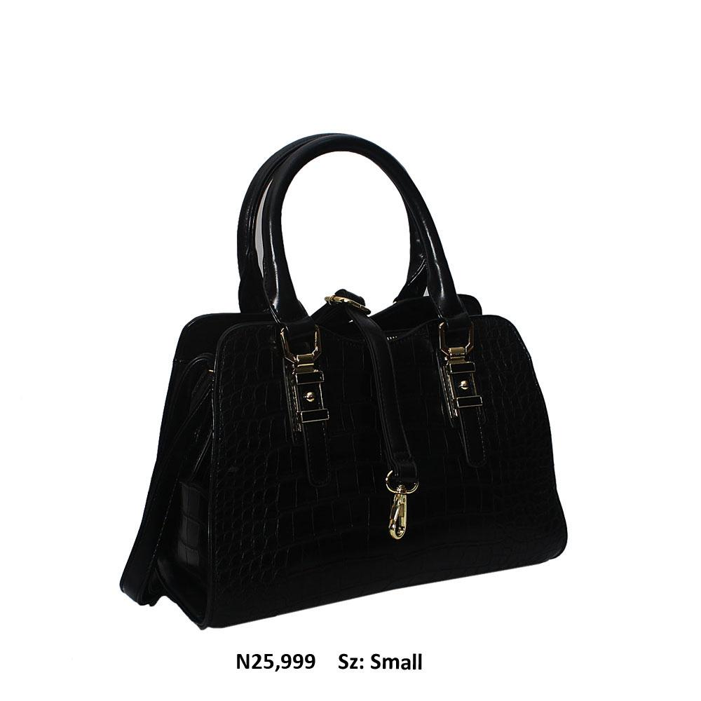 Black Claudia Croc Style Leather Tote Handbag