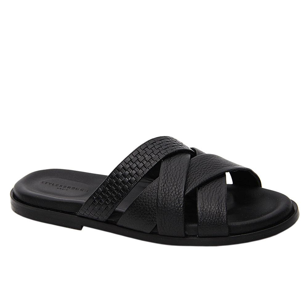 Black Xavier Crossover Italian Leather Slippers