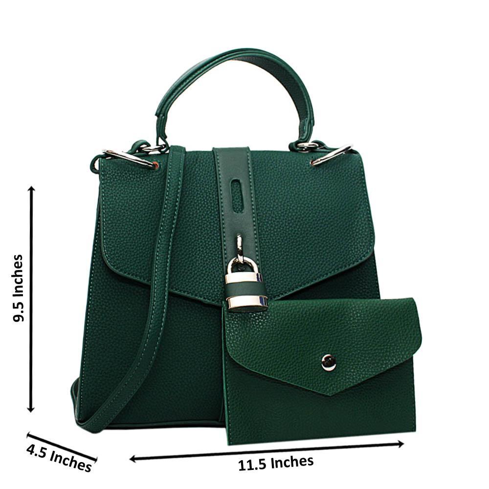 Green Clara Leather Medium Top Handle Handbag