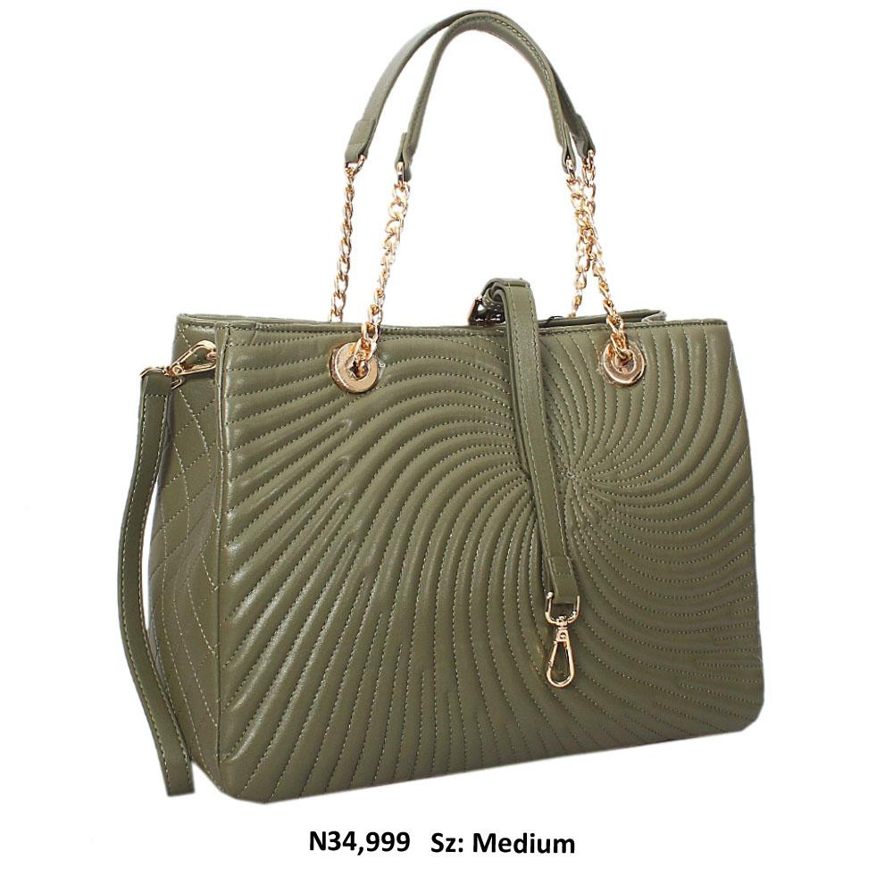 Pickle Green Martina Threaded Style Soft Leather Tote Handbag