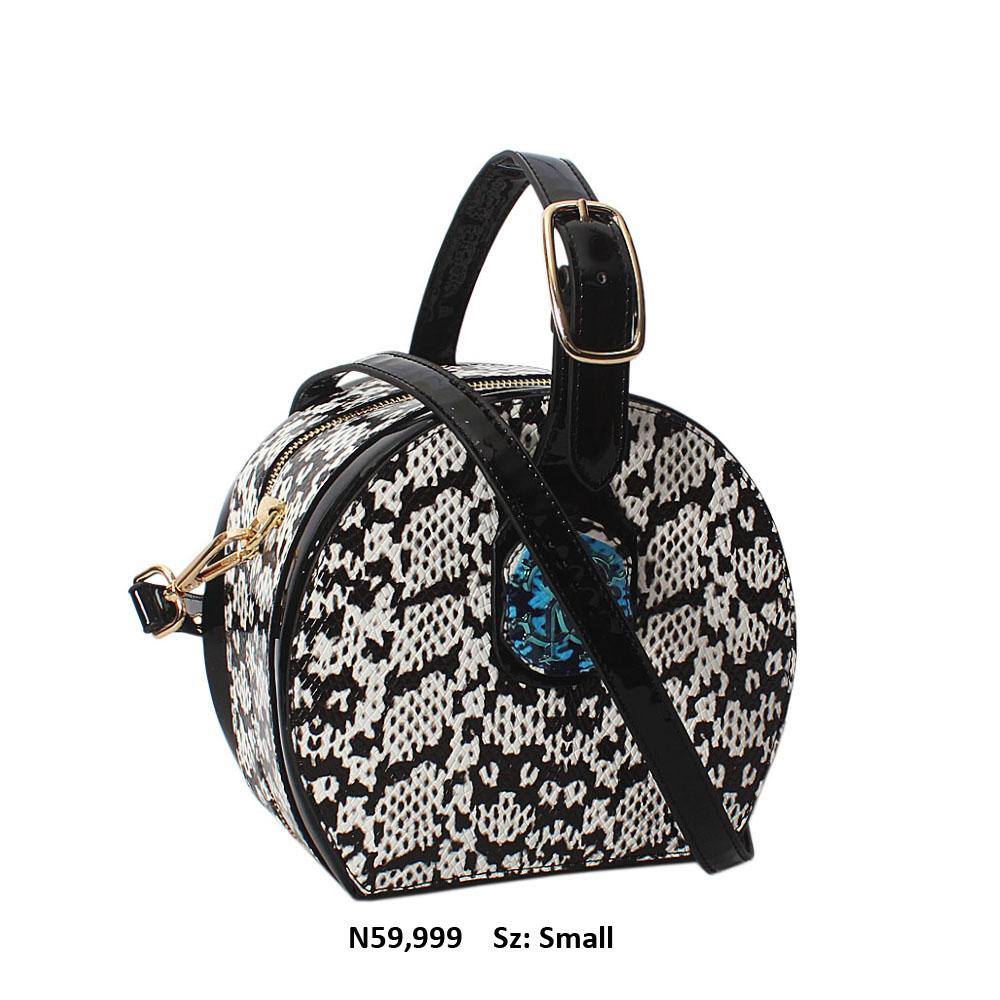 Black White Snake Patent Cowhide Leather Round Top Handle Handbag