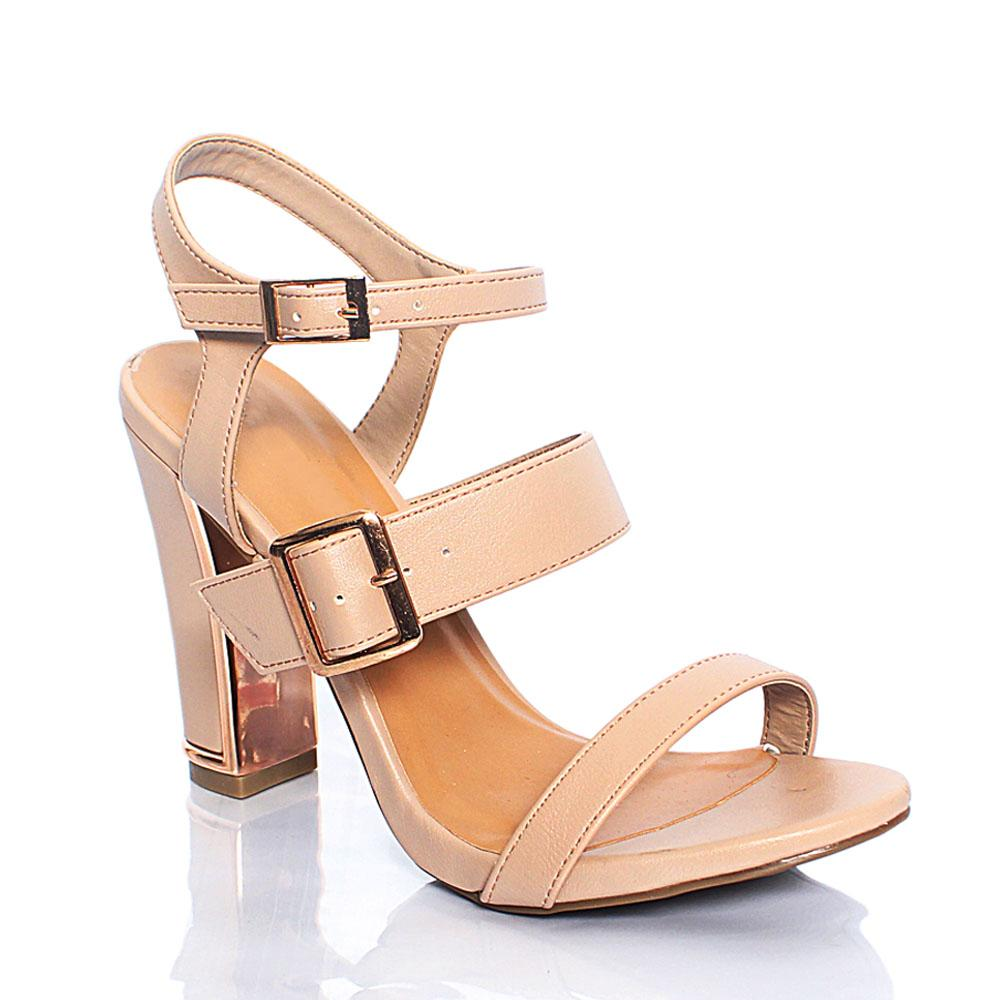 Beige BB Funtime Leather 4 Inch High Heel Sandals
