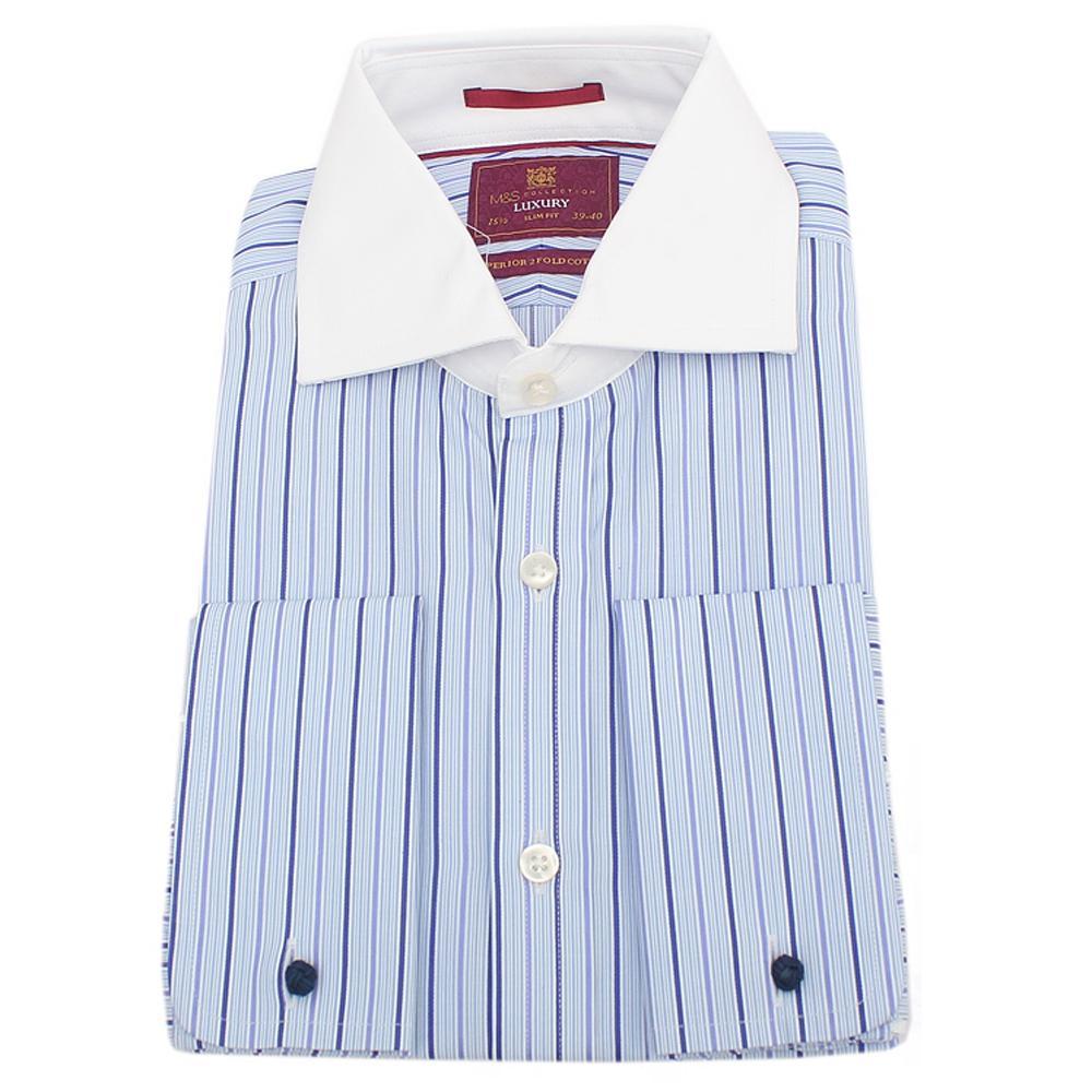 M&S Blue White Striped Long Sleeve Slim Fit Mens Shirt wt Cuffs Sz 16