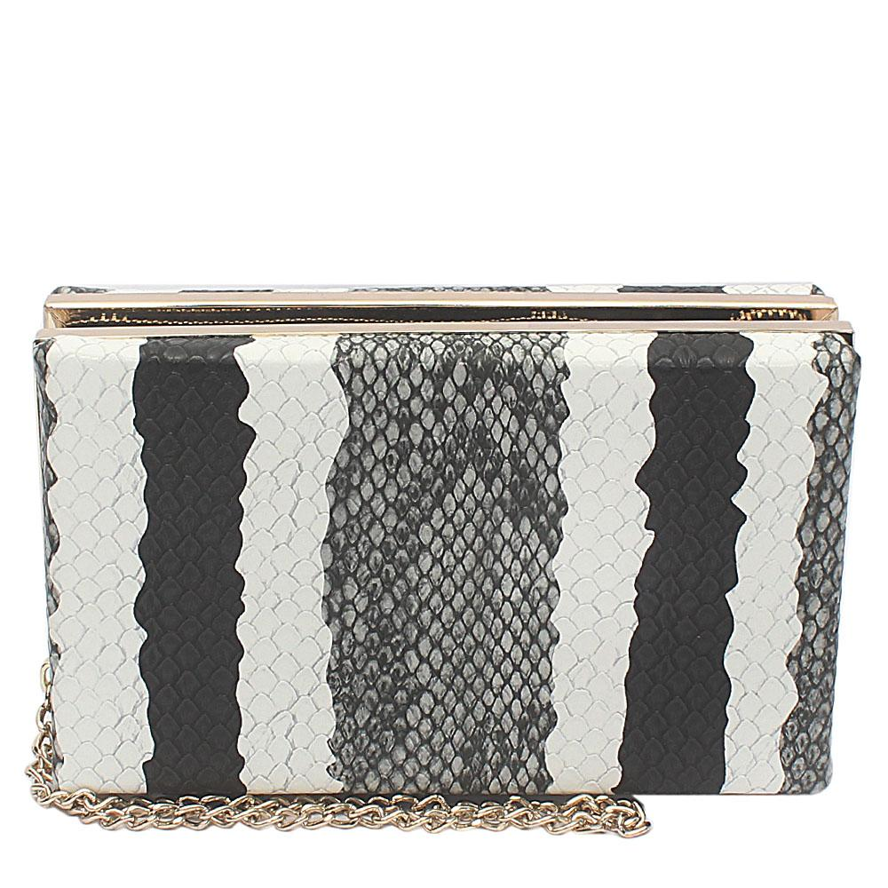 Grey Black White Leather Hard Clutch Wt Zip