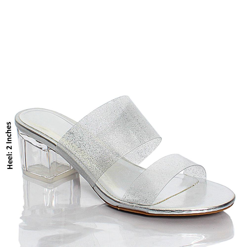 Silver Transparent Rubber Top Leather Mule