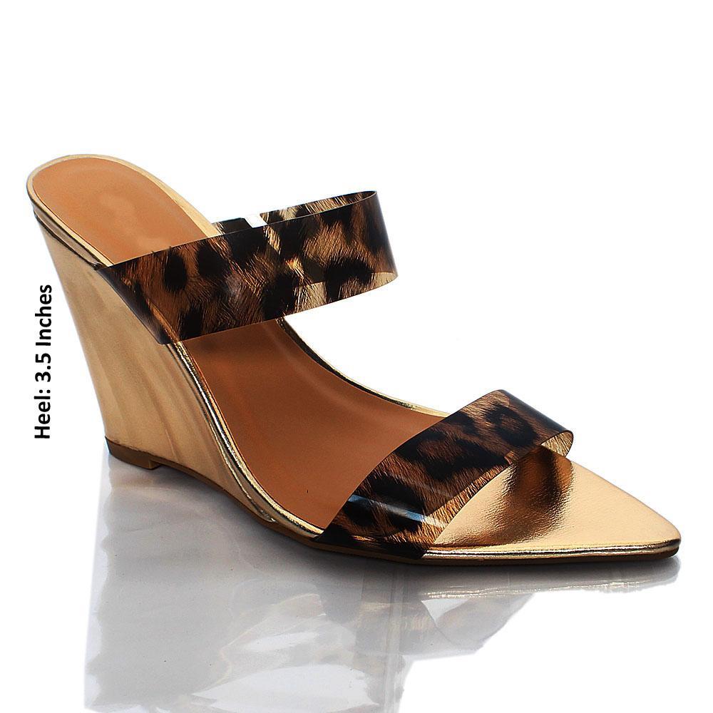 Gold Eloisa Leopard Skin Rubber Top Wedge