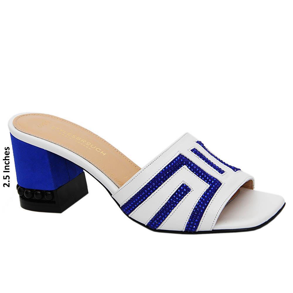 White Blue Royale Studded Tuscany Leather Mid Heel Mule
