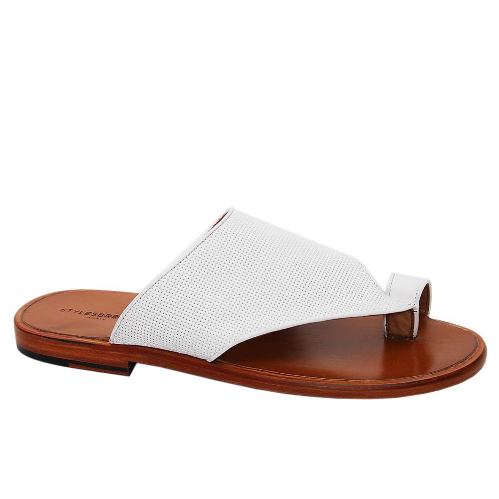 White Santorini Italian Leather Slippers