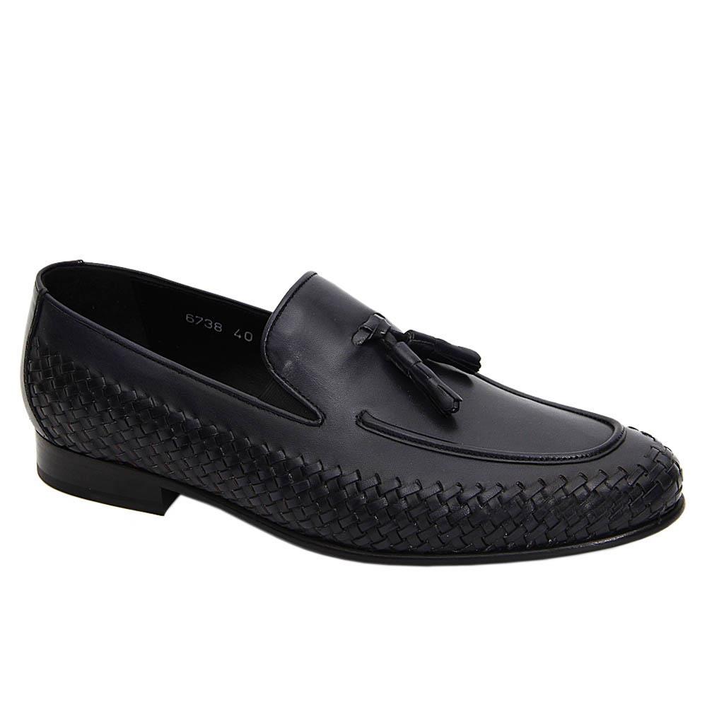 Navy Guerrero Woven Italian Leather Tassel Loafers