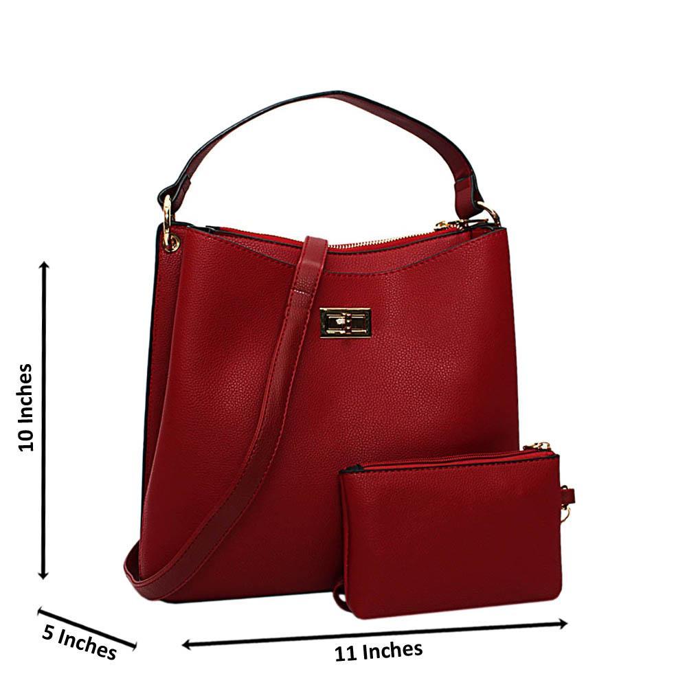 Wine Hazel Leather Medium Top Handle Handbag