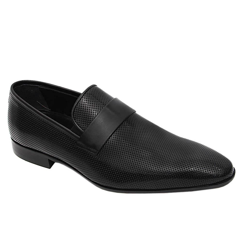 Black Augusto Italian Leather Loafers