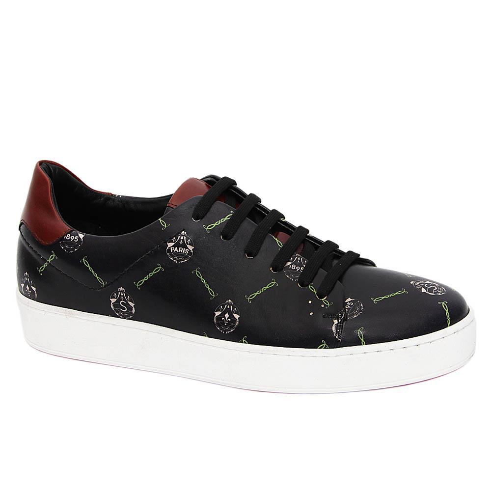 Black Brian Jeffrey Italian Leather Sneakers