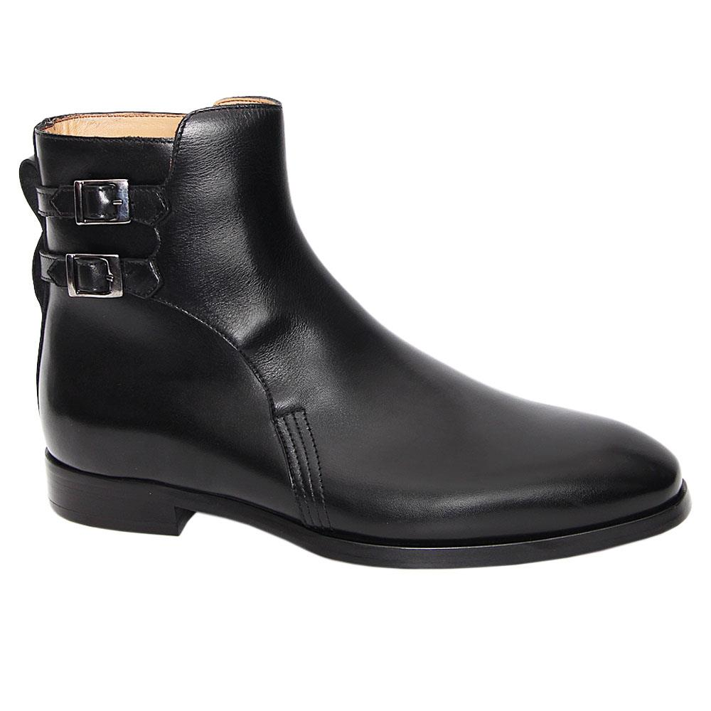 Black Arthur Italian Leather Double Strap Dress Boot