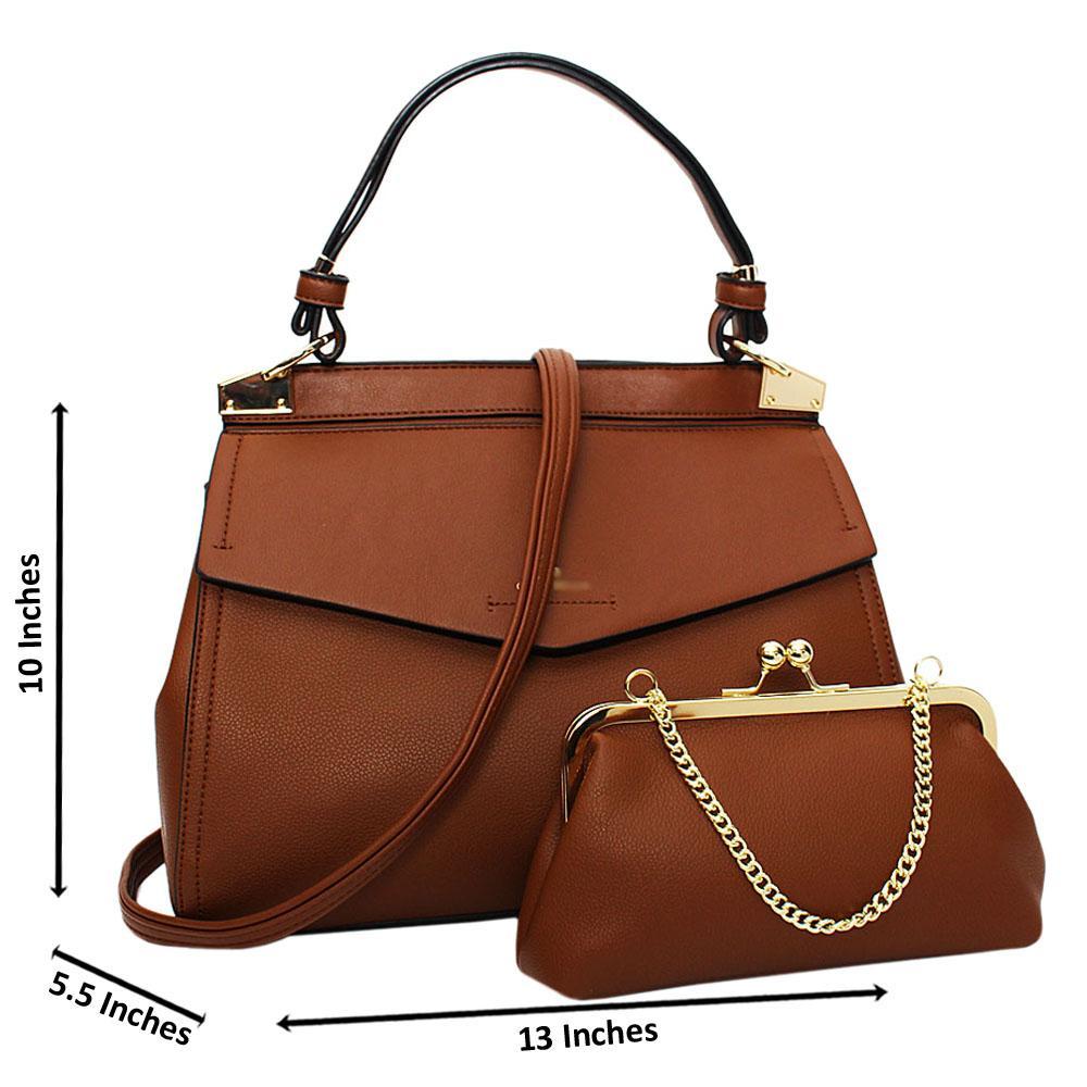 Brown Melissa Leather Medium Top Strap Handbag