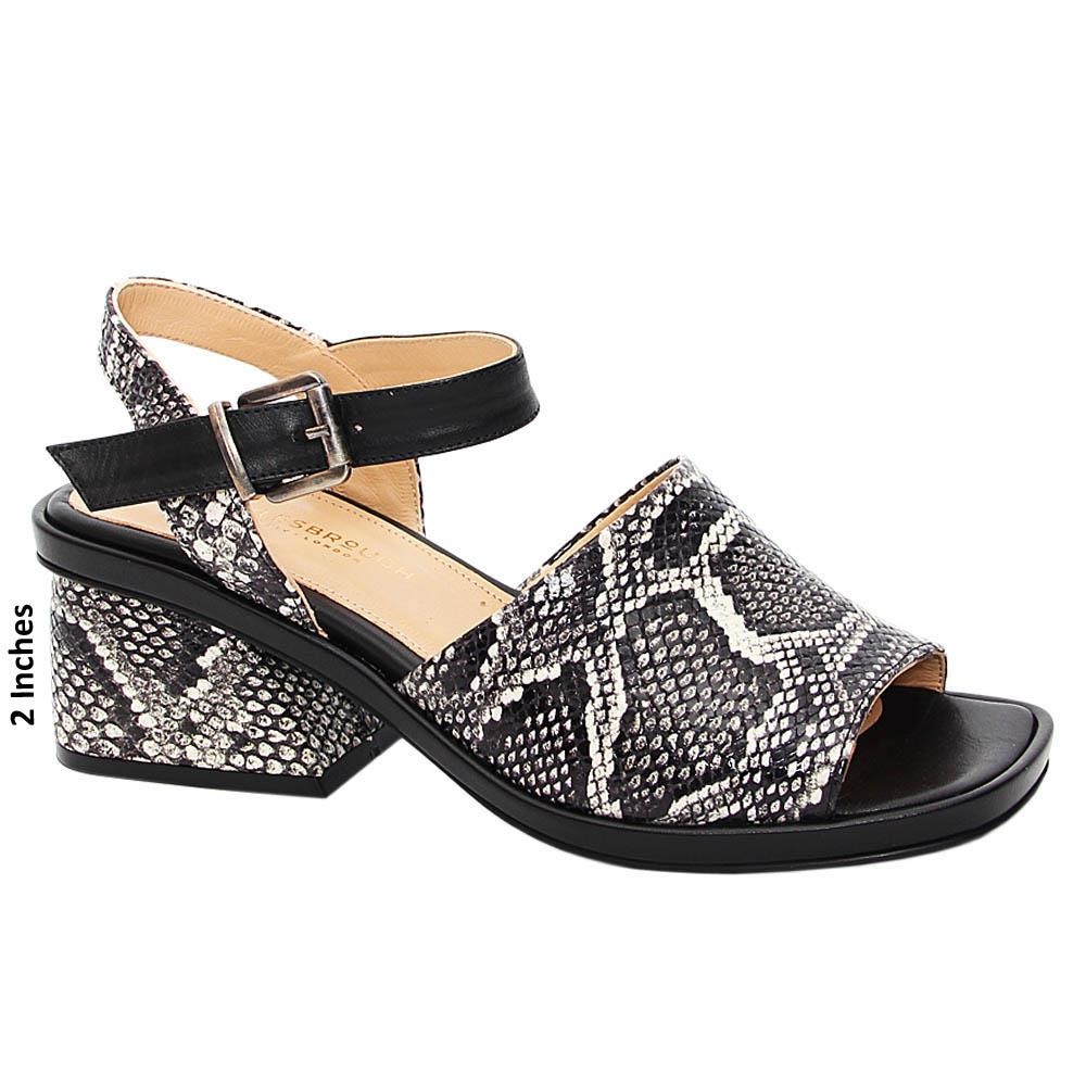 Black White Mix Alma Tuscany Leather Mid Heel Sandals