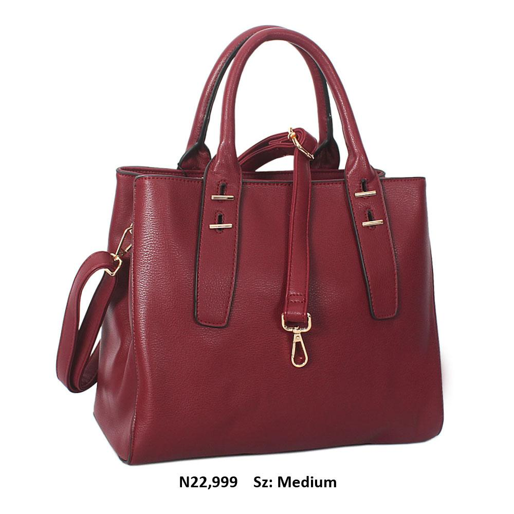 Wine Lorraine Leather Tote Handbag