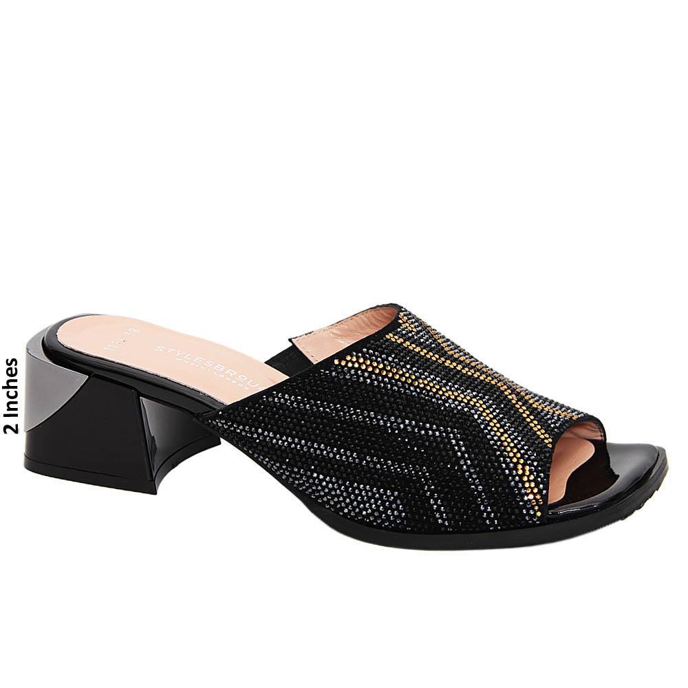 Black Gold Mix Rosa Studded Tuscany Leather Mid Heel Mule