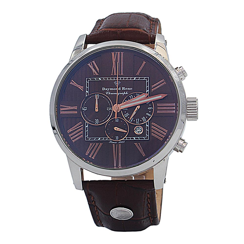 DR 3ATM Brown Silver Leather Chronograph Watch