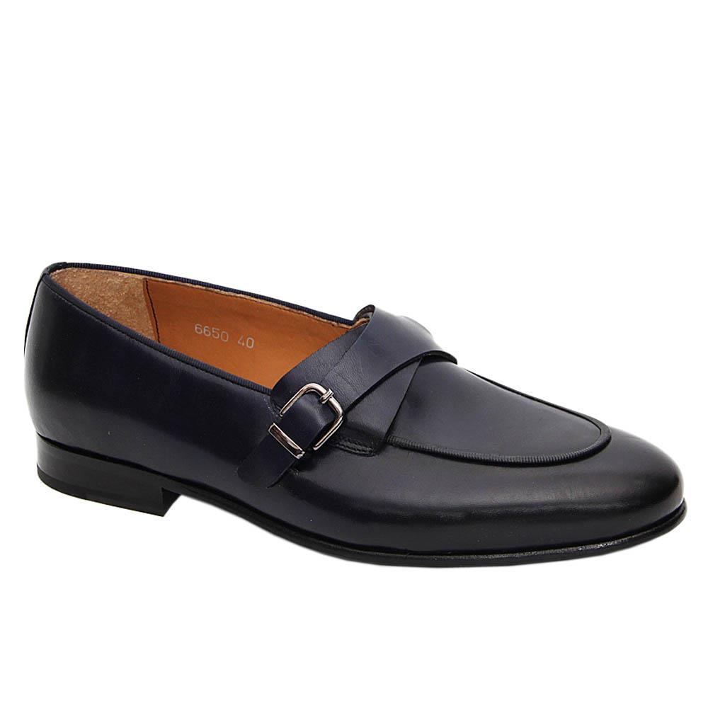 Dark Navy Martini Italian Leather Buckle Loafers
