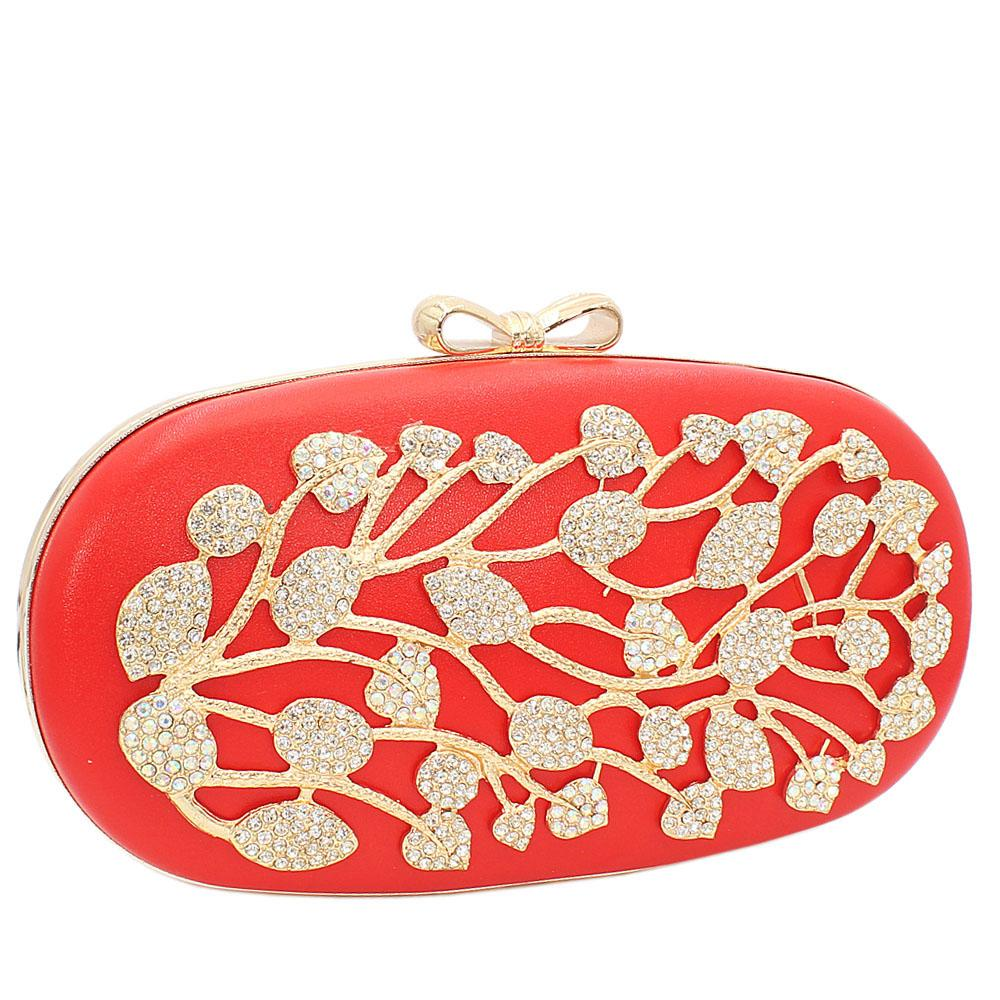 Orange Ariel Gold Studded Leather Clutch Purse