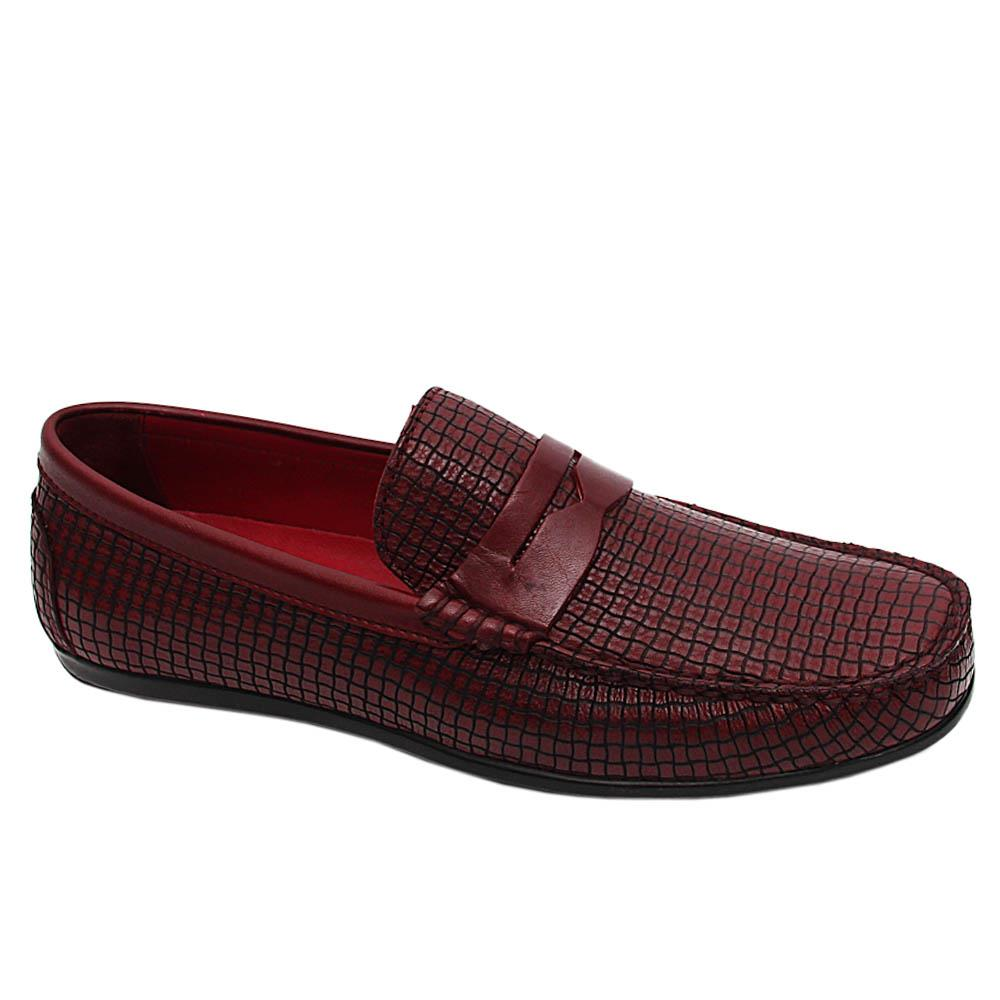 Wine Vincente Italian Leather Patterned Drivers Shoe