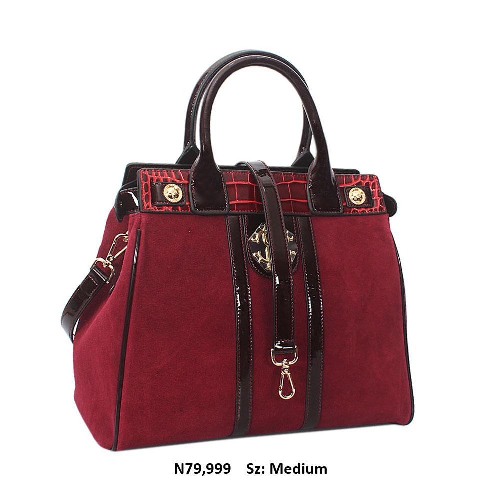 Mariella Wine Suede Cowhide Leather Tote Handbag