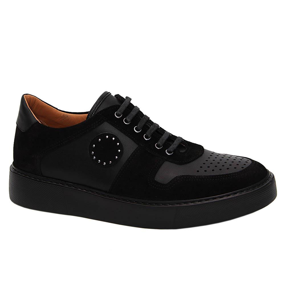 Black Arnaz Mix Suede Italian Leather Sneakers