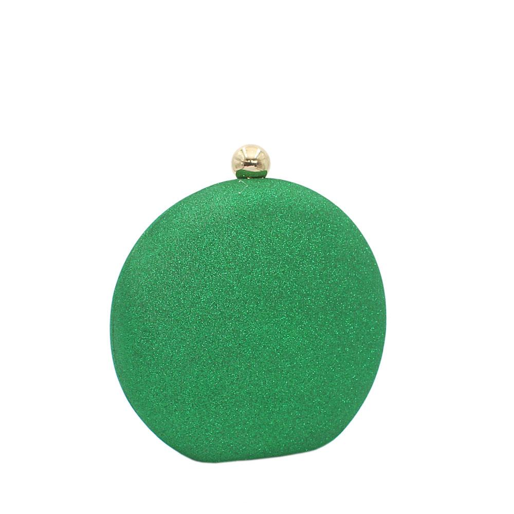 Green Round Shimmering Satin Clutch Purse