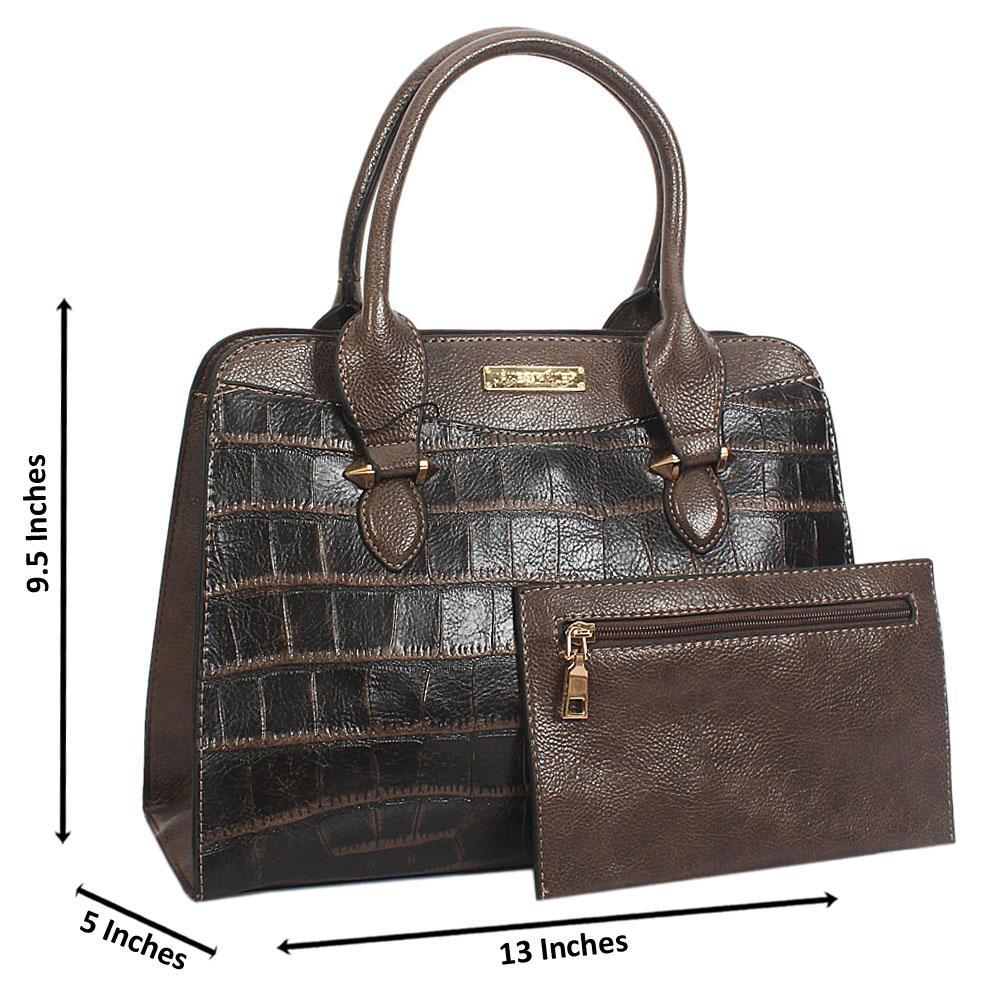 Jane Stanley Olivia Dark Gray Croc Leather Tote Handbag