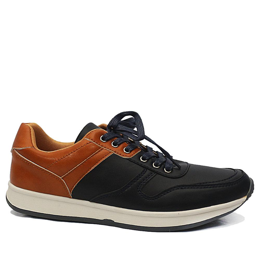 DDM Navy Brown Harvie Leather Sneakers