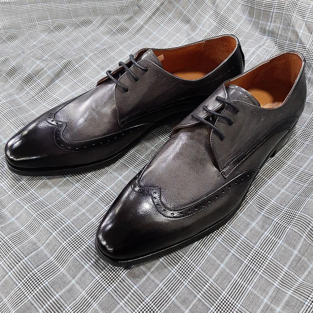 Gray Herran Italian Leather Men Derby Shoes