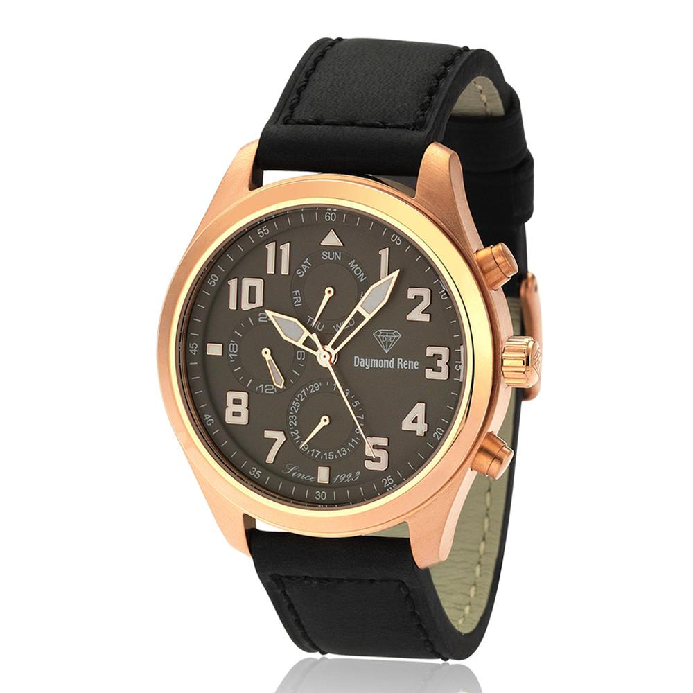 DR 10ATM Black Rose Gold Leather Chronograph Watch
