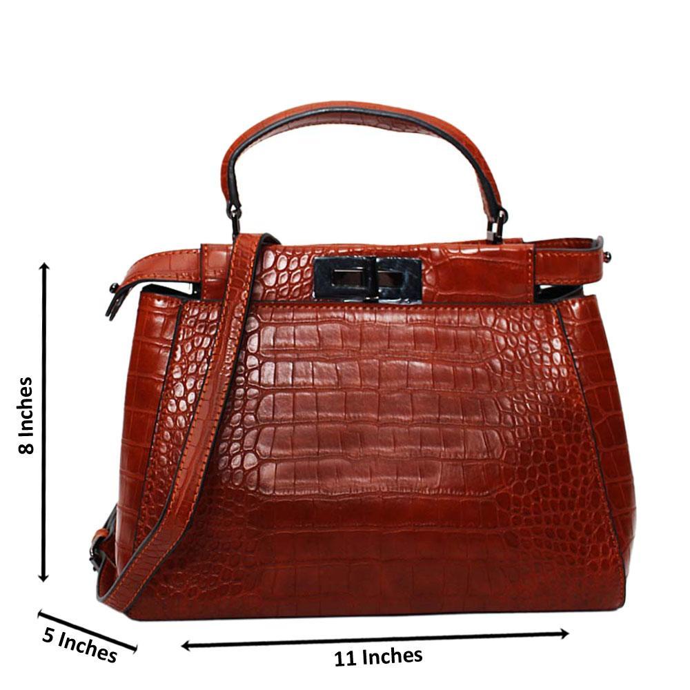 Brown Arabella Croc Leather Small Top Handle Handbag