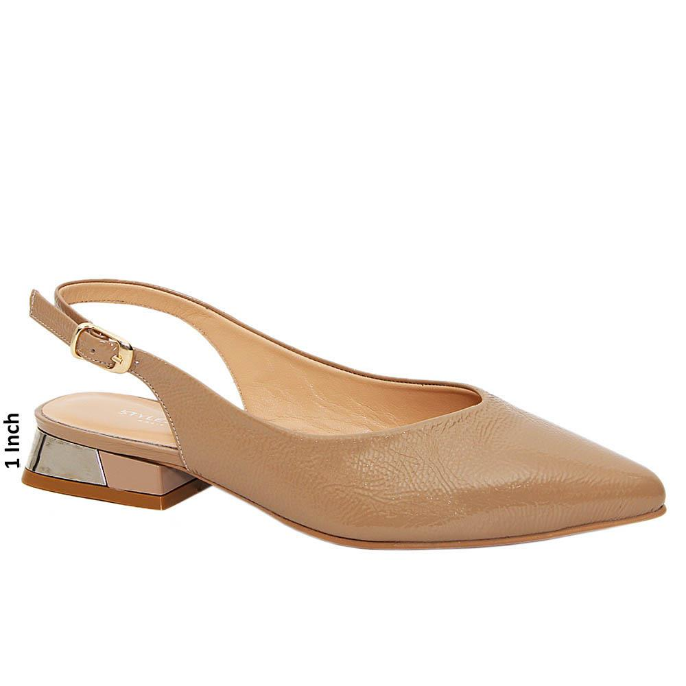 Nude Irene Tuscany Leather Low Heel Slingback Pump