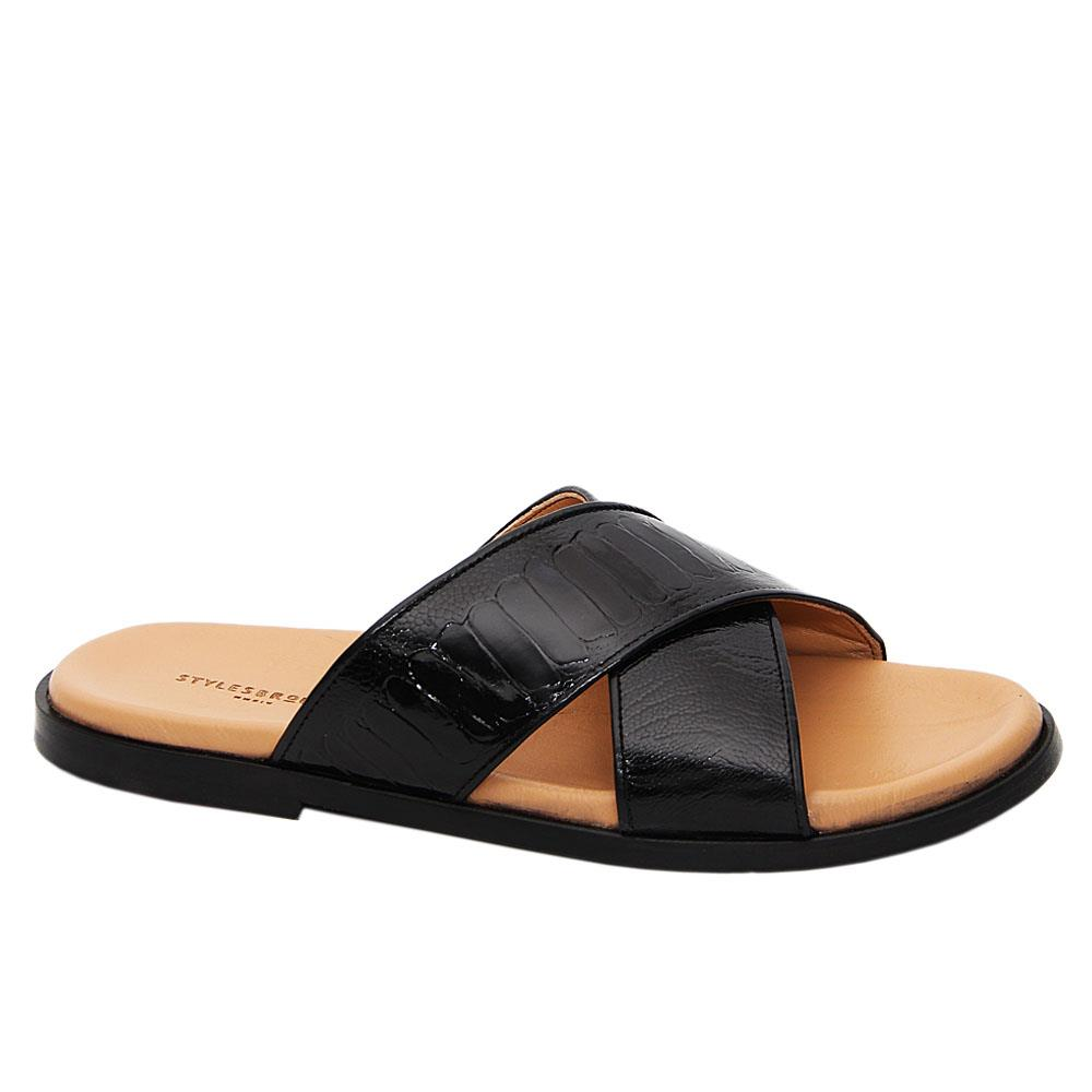Black Giullaume Crossover Italian Leather Slippers