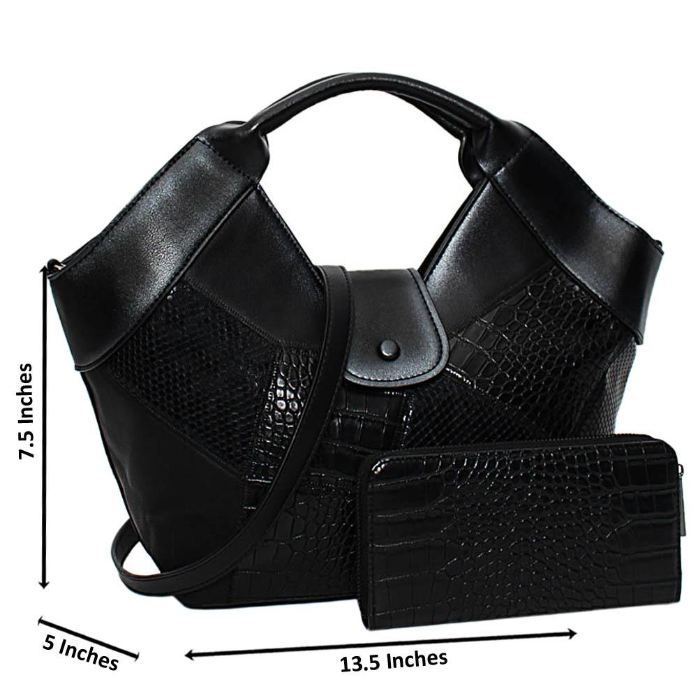 Black Becky Mix Croc Snake Leather Medium Tote Handbag
