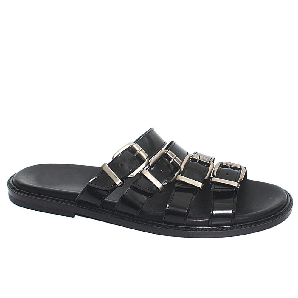 Black Luthor Leather Upper and Sole Men Slippers