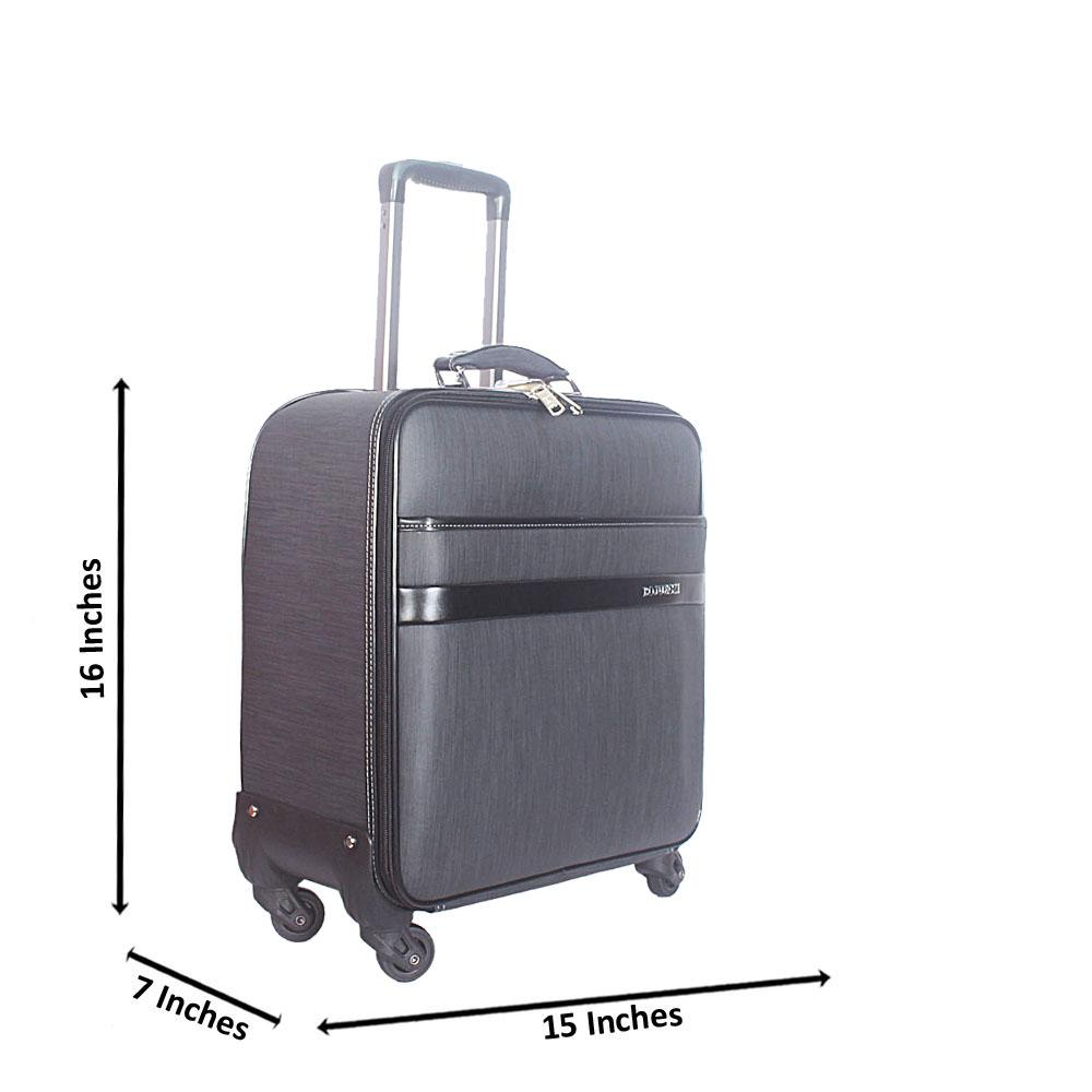 Dark Gray 16 Inch Leather Pilot Suitcase Wt Lock