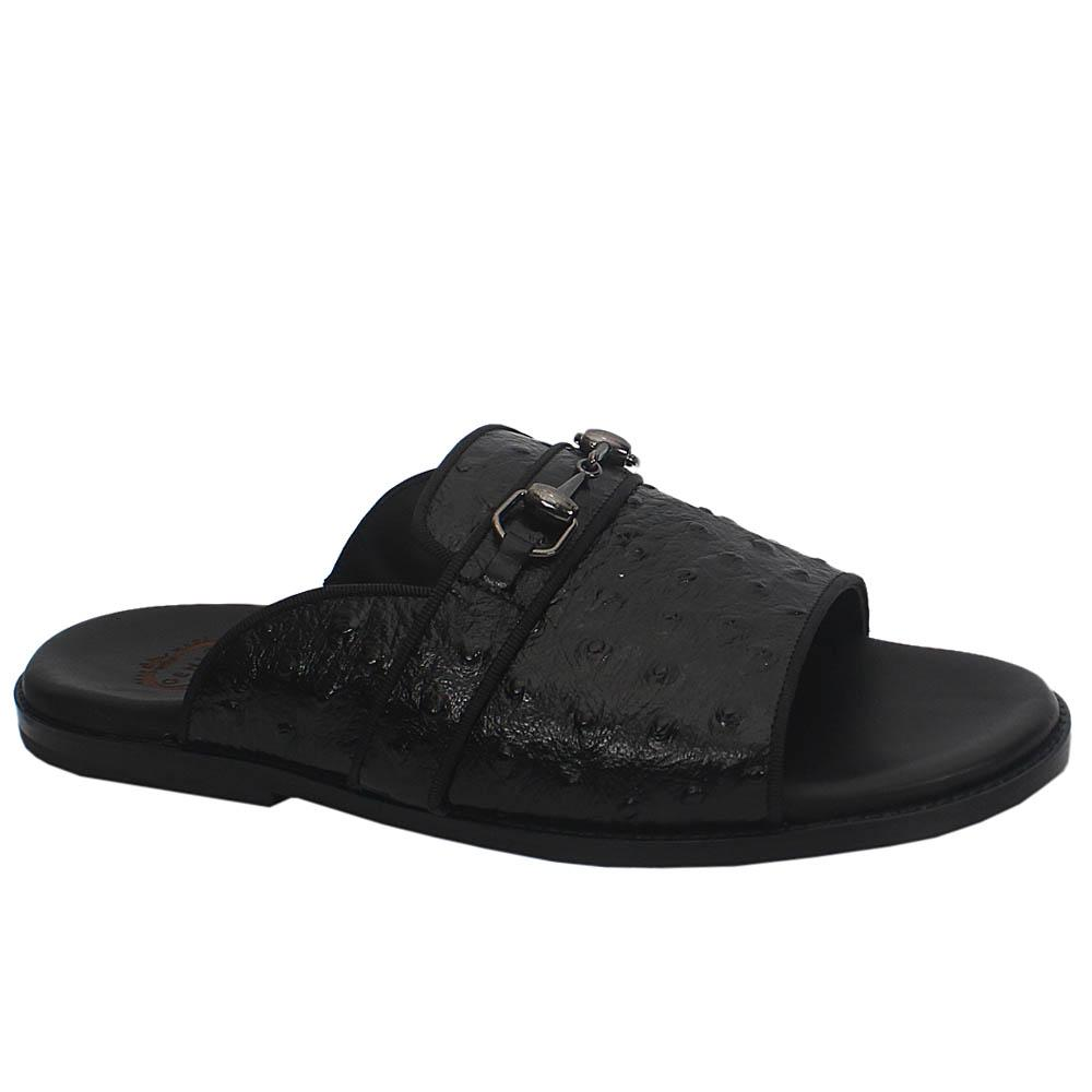 Gen Black Peafowl Leather Upper and Sole Men Slippers